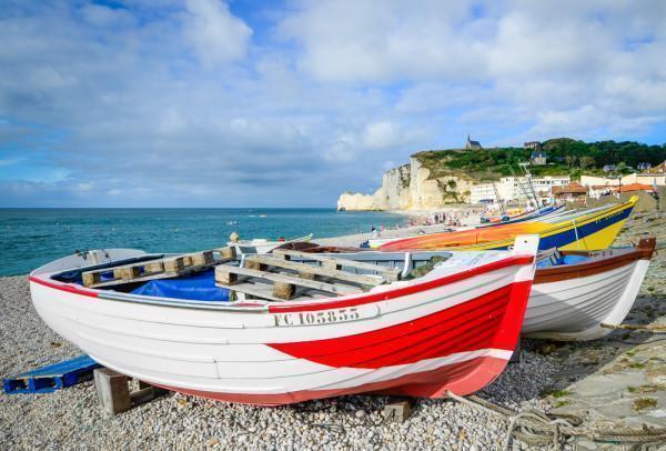 Colourful boats on La Côte d'Albâtre, the Alabaster Coast