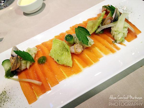 Gravlax with cockles, fennel, sea parsley, celery and cucumber