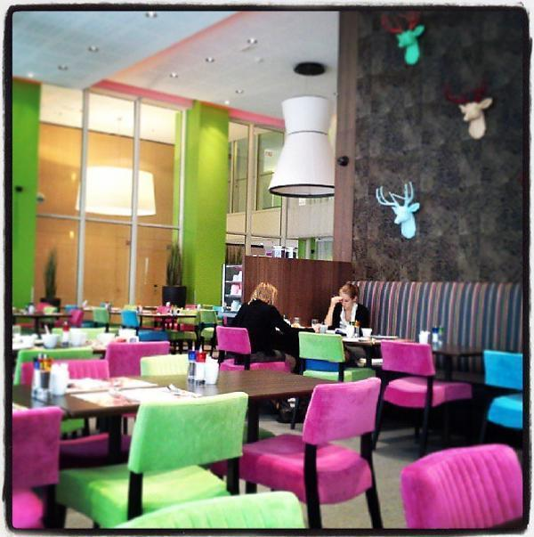 The colourful dining room at the Thon EU