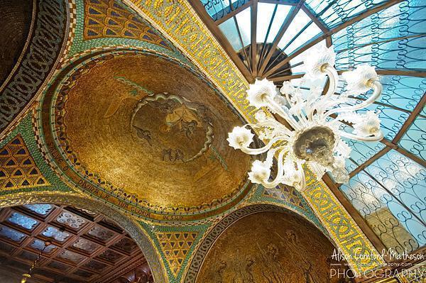 The stunning Art Nouveau tiled ceiling
