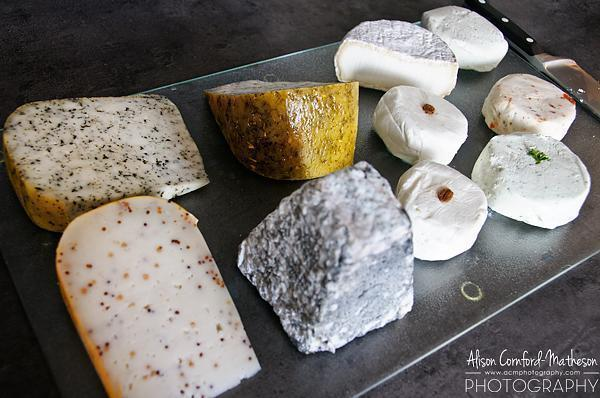 Heaven on a plate - a selection of Debbie's goat cheeses