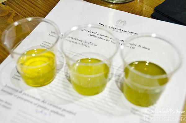 Tasting olive oil at Castelfalfi