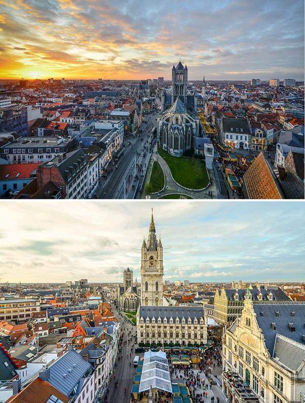 Christmas-y Ghent by day and night