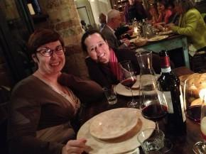 Alison & Michelle enjoying dinner in Spello, Italy.