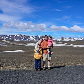 Adriana and her family on their Iceland adventure. (Incidentally the photo was taken by a Belgian couple...)