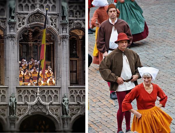 Dancers preform at the Ommegang festival in Brussels