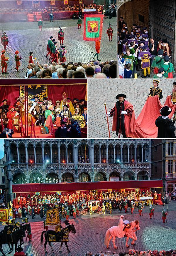The dignitaries enter the Grand Place first