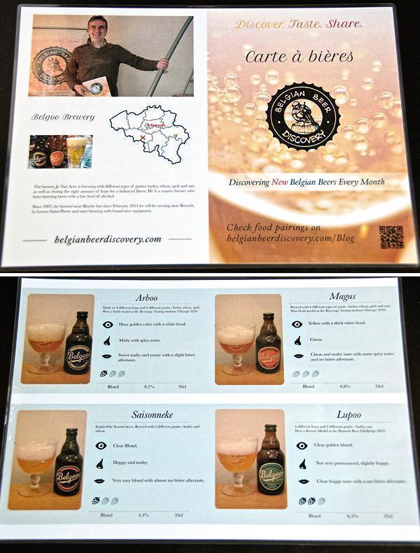 Handy laminated tasting notes for Belgoo beer