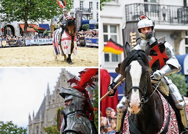 Knights jousting on Place du Grand Sablon