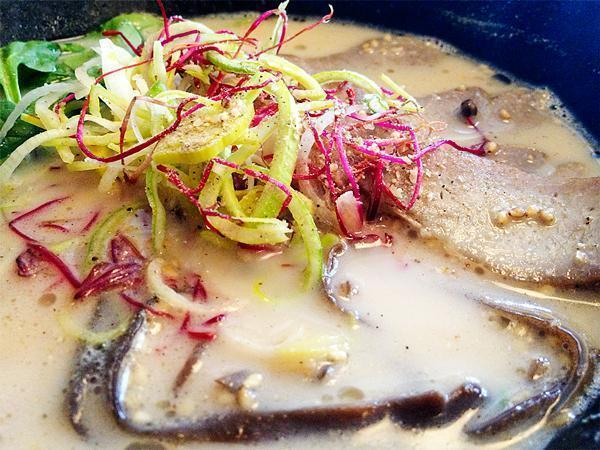 A rich, creamy broth and plenty of veggies make up  tonkotsu