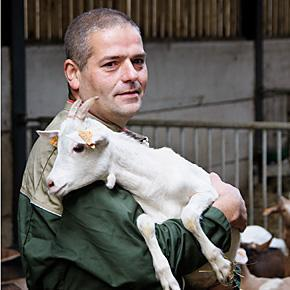 Christophe and one of his baby goats