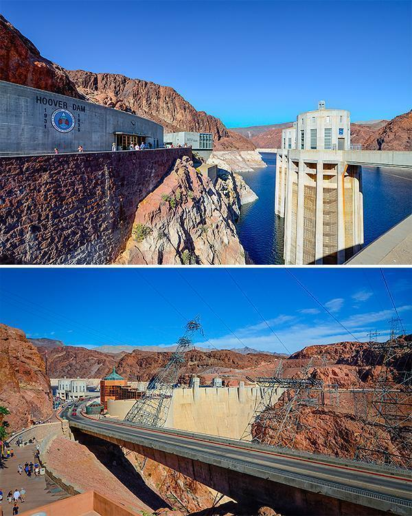 Hoover Dam - With a foot in two time zones and two states