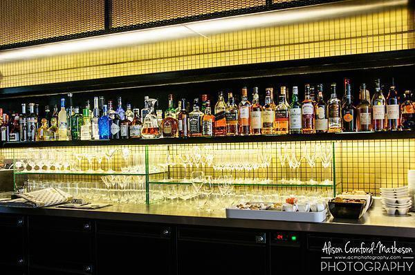 The very well stocked bar