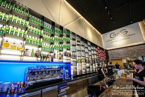 We loved the Italian flag made of Martini bottles behind the bar