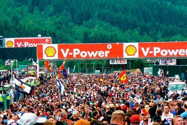 Fans from all over the world celebrate the finish of the 2013 Belgian Grand Prix.