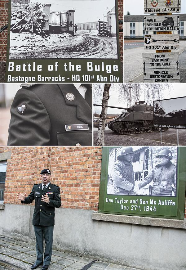A Belgian soldier leads our tour through the Bastogne Barracks Museum