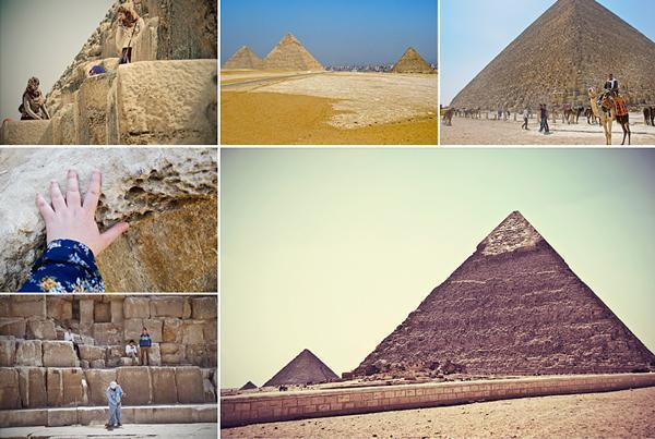 The Pyramids at Giza are vast and touching them for the first time was truly a thrill