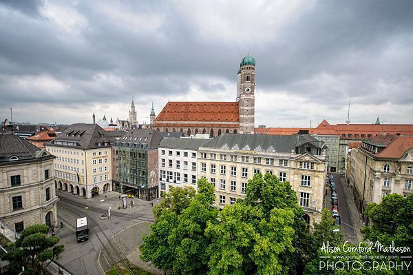 The stately gothic Frauenkirche towers over central Munich