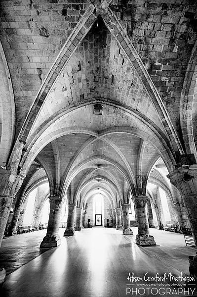 The vaulted ceilings of Vaucelles Abbey