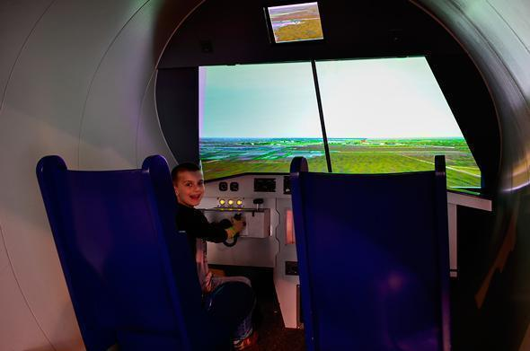 Trying out the flight simulator