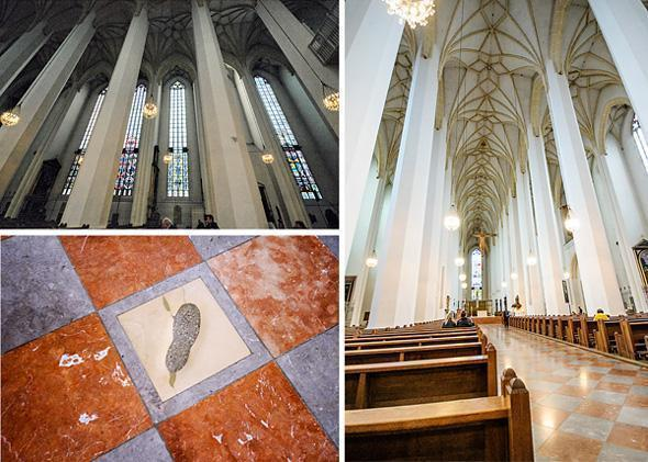 From the Devil's footprint it's impossible to see the stained glass windows that decorate the church