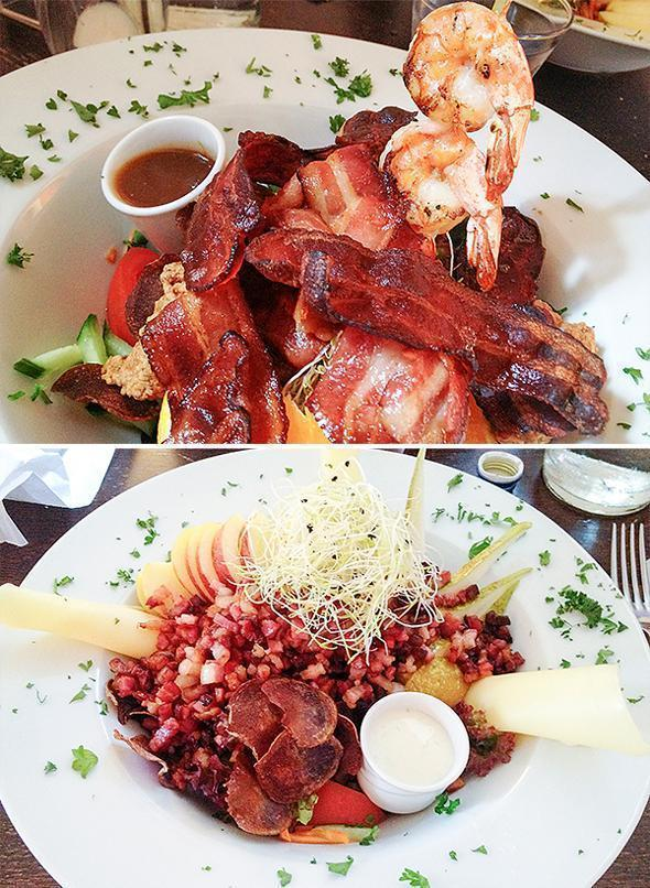 There really is salad under all that bacon!
