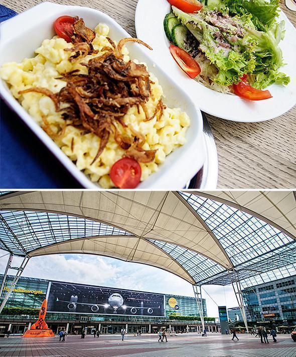 Cheese spätzle at Munich Airport's Airbrau Restaurant