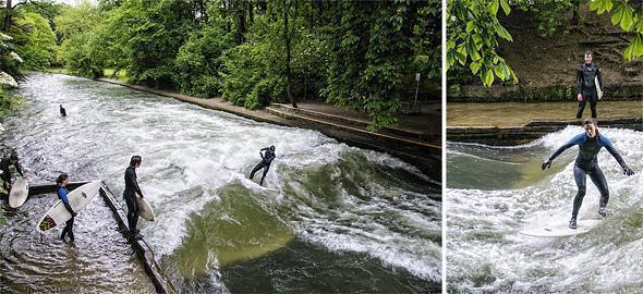 Surfing at the Englischer Garten in Munich