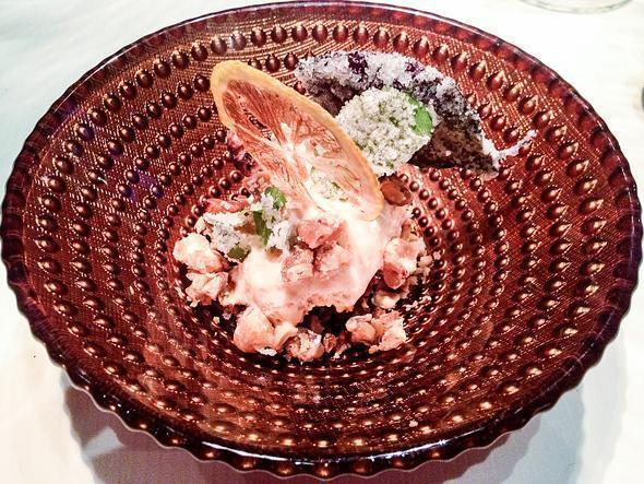 Spanish Turron (nougat) ice with caramelised dried fruits and crystallised herbs