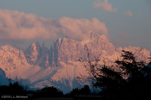 Sunset on the Rosengarten Peaks, Bolzano