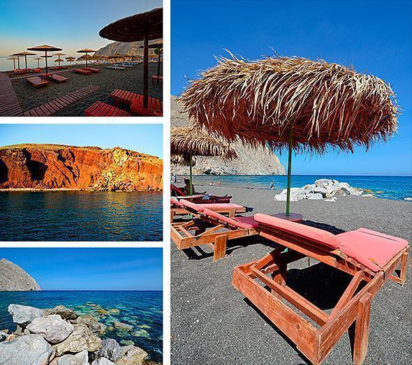 Kamari, Red and Perissa beaches on Santorini