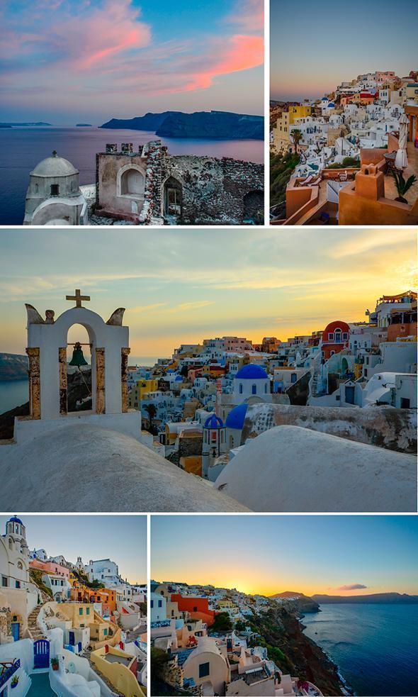 Sunrise and sunset are magical in Oia, Santorini