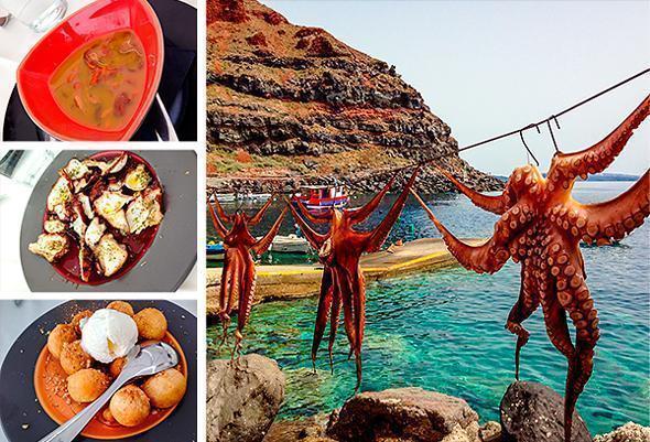 Super fresh octopus at Ammoudi Fish Restaurant in Oia, Santorini