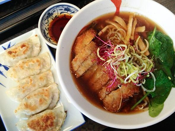 Another big bowl of goodness and delicious dumplings too - Samourai ramen
