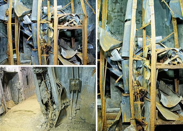 Nothing left but scrap metal - the former elevator demonstrates the power of the German shaped charges