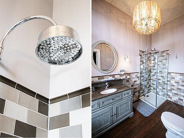 It doesn't get better than this rain shower in the spacious bathroom