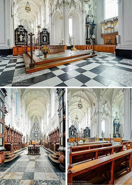 Inside the Baroque abbey church