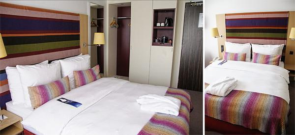 Inside one of the colourful guest rooms of the Radisson Blu EU Hotel