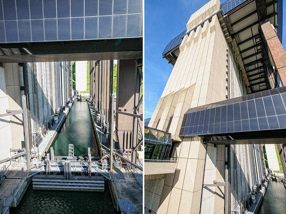 Up, up, and away! These huge basins lift boats to the upper level.
