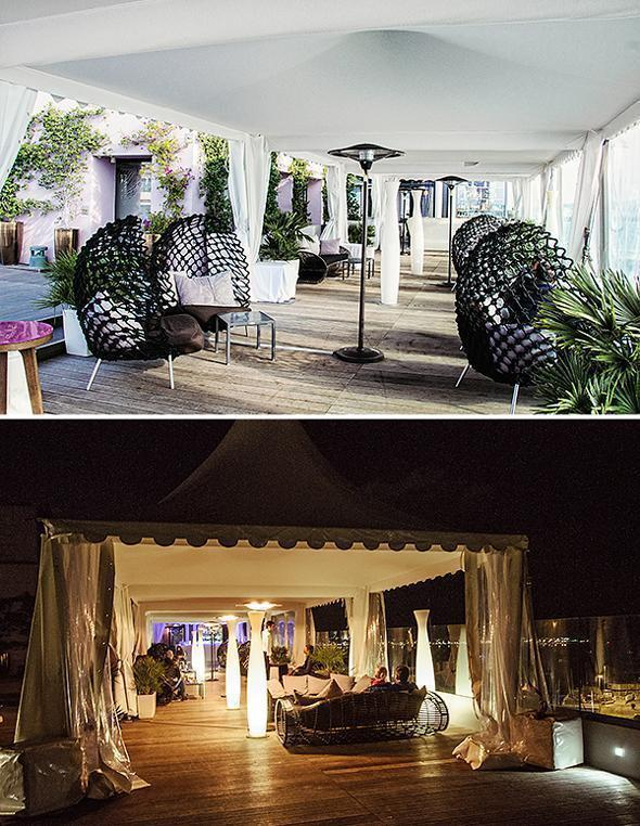 The terrace bar of Radisson's Le 360 by day and night