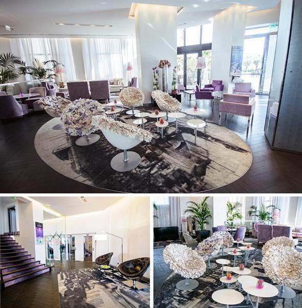 The stylish lobby of the Radisson Cannes