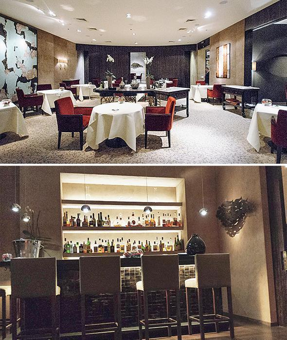 The Main dining room and cosy bar at Sea Grill restaurant in Brussels