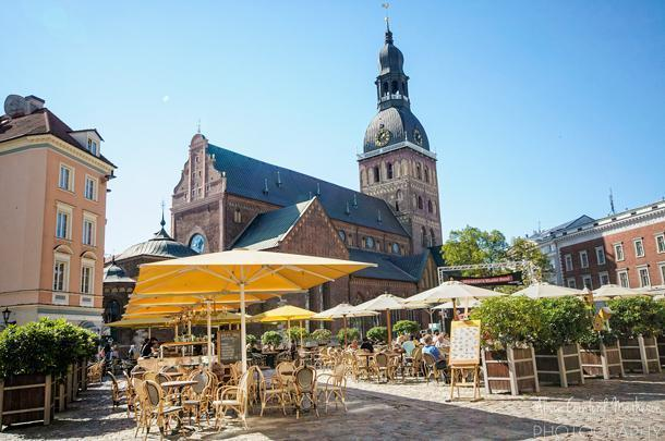 The square beside Riga's Dom Cathedral is a popular gathering spot in nice weather.