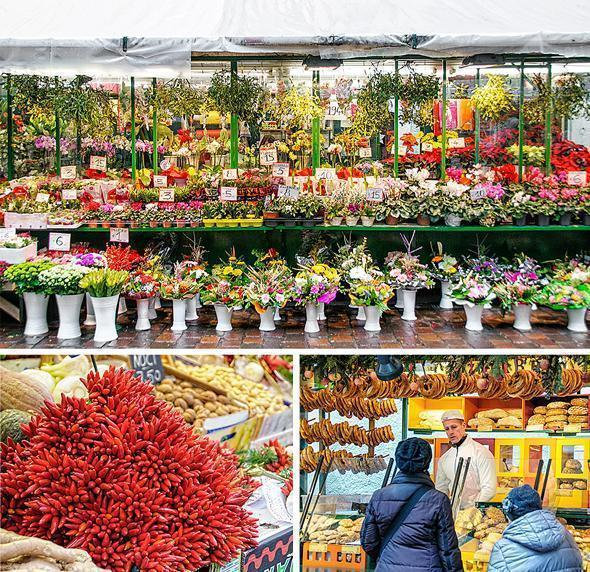 The colourful food market on Piazza delle Erbe, Bolzano