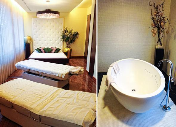 The couples' treatment room at Terme Merano