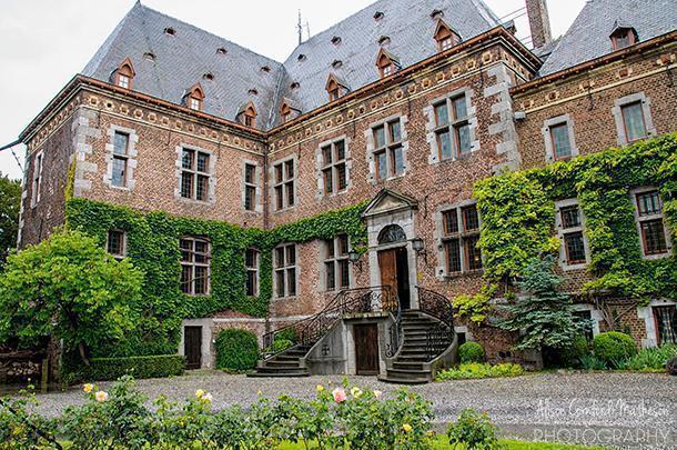 Our view for the meal at the Kasteel de Commanderie in Sint-Pieters-Voeren, Belgium