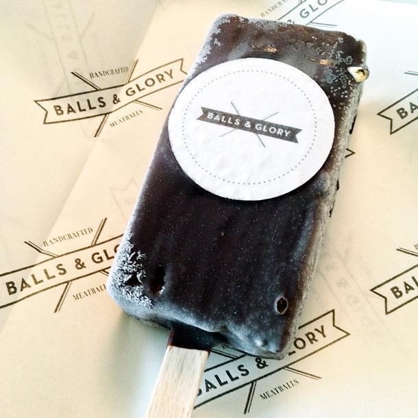 Homemade ice cream bars at Balls & Glory