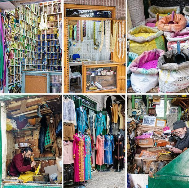 Tiny shops with colourful wares in the Tetouan Medina