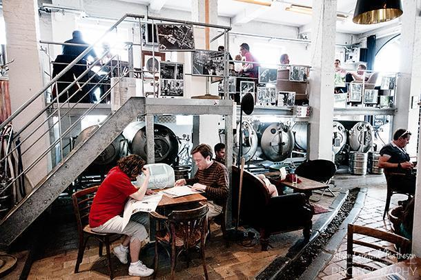 The Gruut Brewery in Ghent offers drinks among the vats.