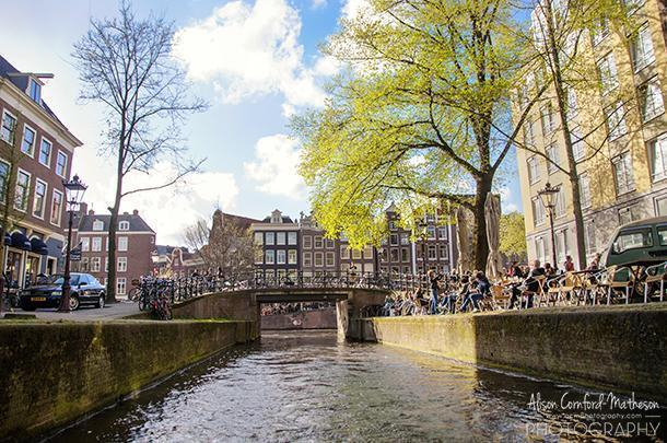 Coffee by a canal, in Amsterdam, The Netherlands